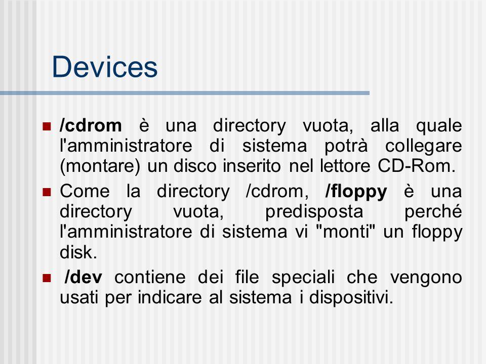 Devices /cdrom è una directory vuota, alla quale l amministratore di sistema potrà collegare (montare) un disco inserito nel lettore CD-Rom.