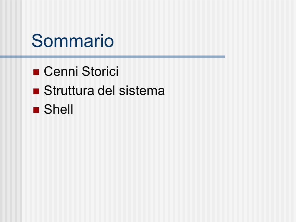 Sommario Cenni Storici Struttura del sistema Shell