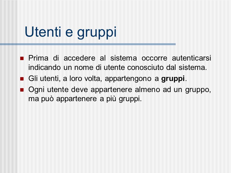 Utenti e gruppi Prima di accedere al sistema occorre autenticarsi indicando un nome di utente conosciuto dal sistema. Gli utenti, a loro volta, appart