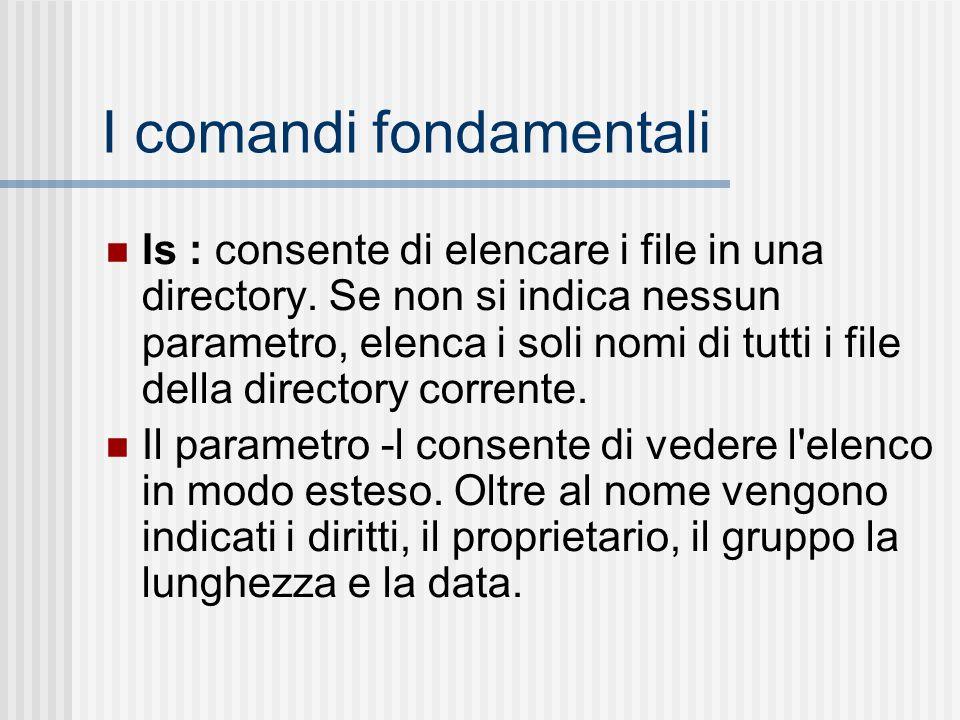 I comandi fondamentali ls : consente di elencare i file in una directory. Se non si indica nessun parametro, elenca i soli nomi di tutti i file della