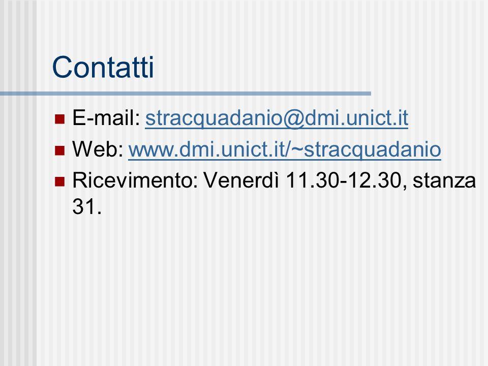 Contatti E-mail: stracquadanio@dmi.unict.itstracquadanio@dmi.unict.it Web: www.dmi.unict.it/~stracquadaniowww.dmi.unict.it/~stracquadanio Ricevimento: Venerdì 11.30-12.30, stanza 31.