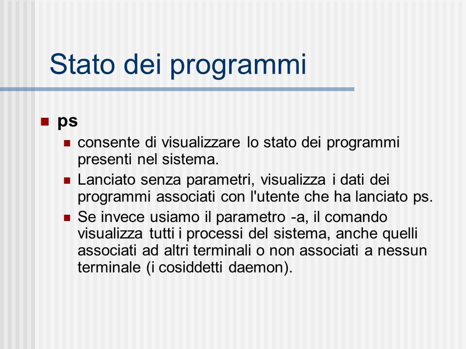 Stato dei programmi ps consente di visualizzare lo stato dei programmi presenti nel sistema. Lanciato senza parametri, visualizza i dati dei programmi