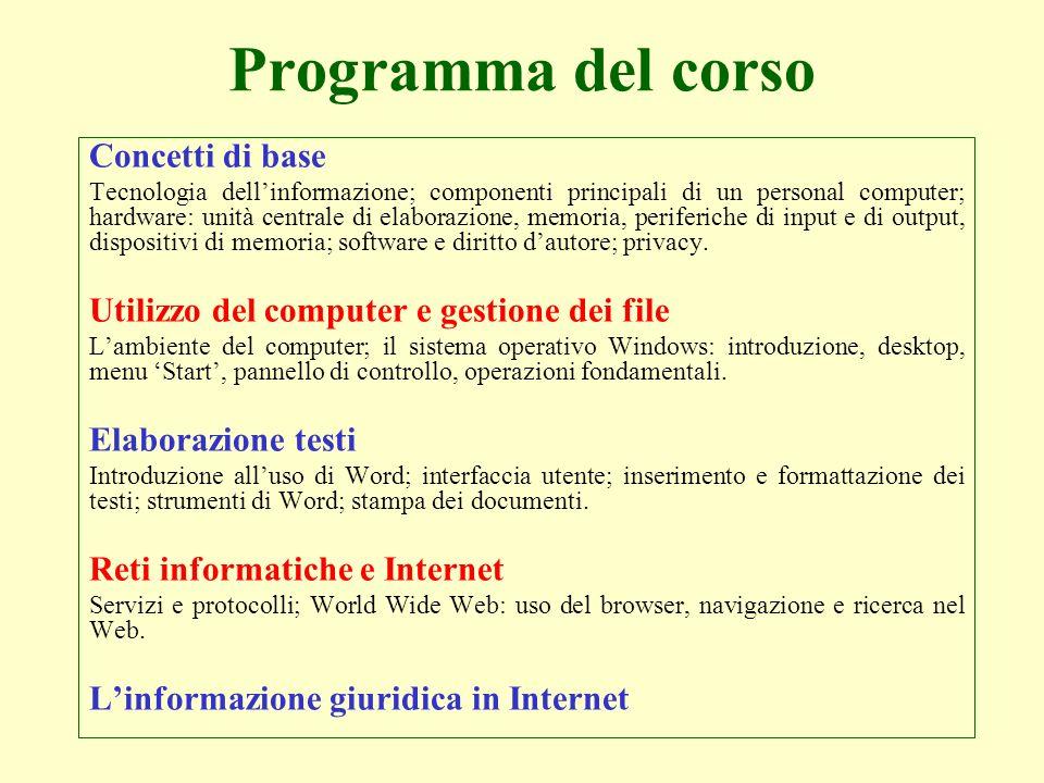 Concetti di base Tecnologia dellinformazione; componenti principali di un personal computer; hardware: unità centrale di elaborazione, memoria, perife