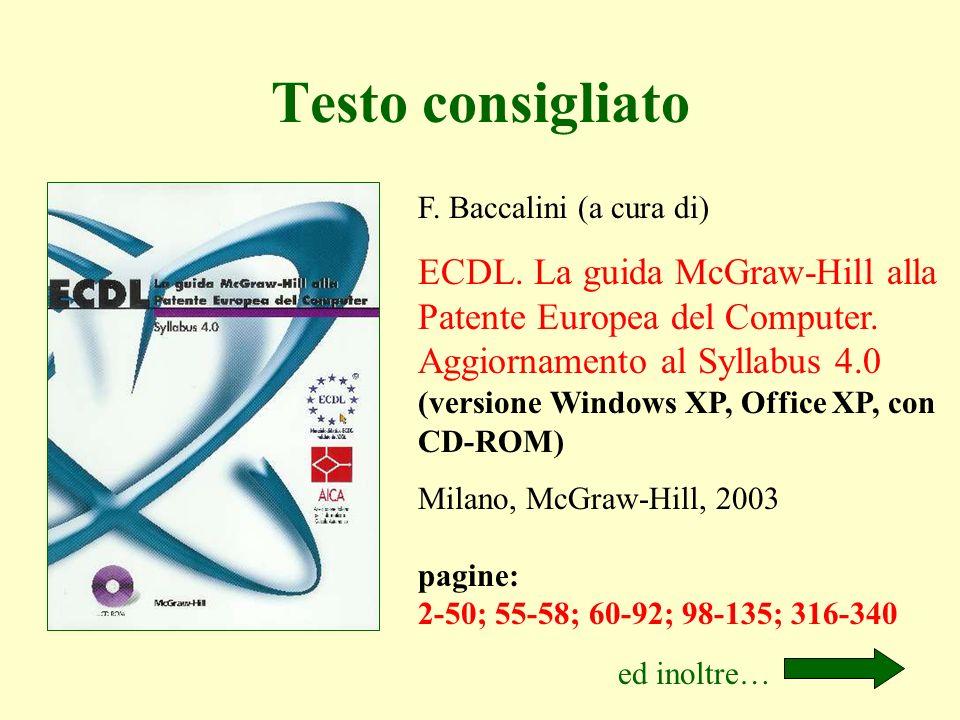 F. Baccalini (a cura di) ECDL. La guida McGraw-Hill alla Patente Europea del Computer. Aggiornamento al Syllabus 4.0 (versione Windows XP, Office XP,