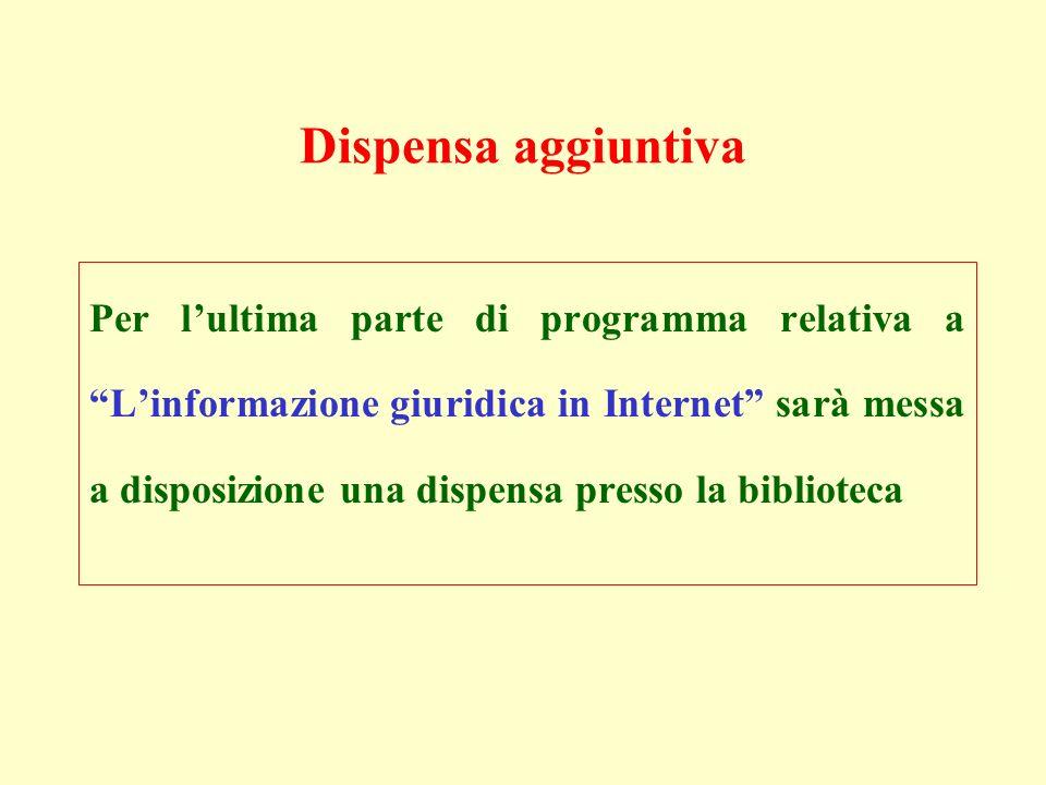 Dispensa aggiuntiva Per lultima parte di programma relativa a Linformazione giuridica in Internet sarà messa a disposizione una dispensa presso la bib
