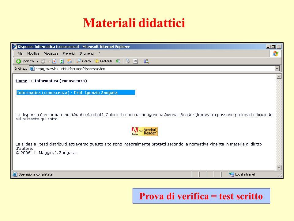 Prova di verifica = test scritto Materiali didattici