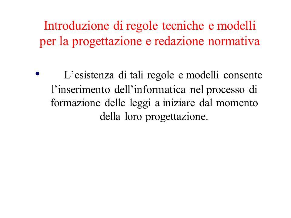 Introduzione di regole tecniche e modelli per la progettazione e redazione normativa Lesistenza di tali regole e modelli consente linserimento dellinf