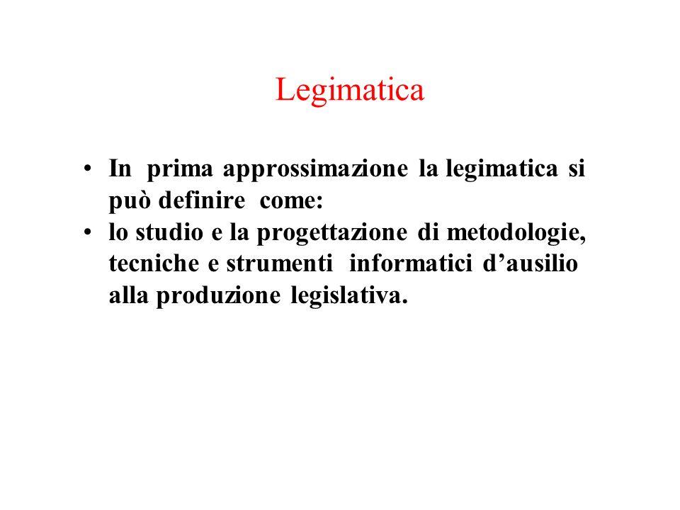 Legimatica In prima approssimazione la legimatica si può definire come: lo studio e la progettazione di metodologie, tecniche e strumenti informatici dausilio alla produzione legislativa.