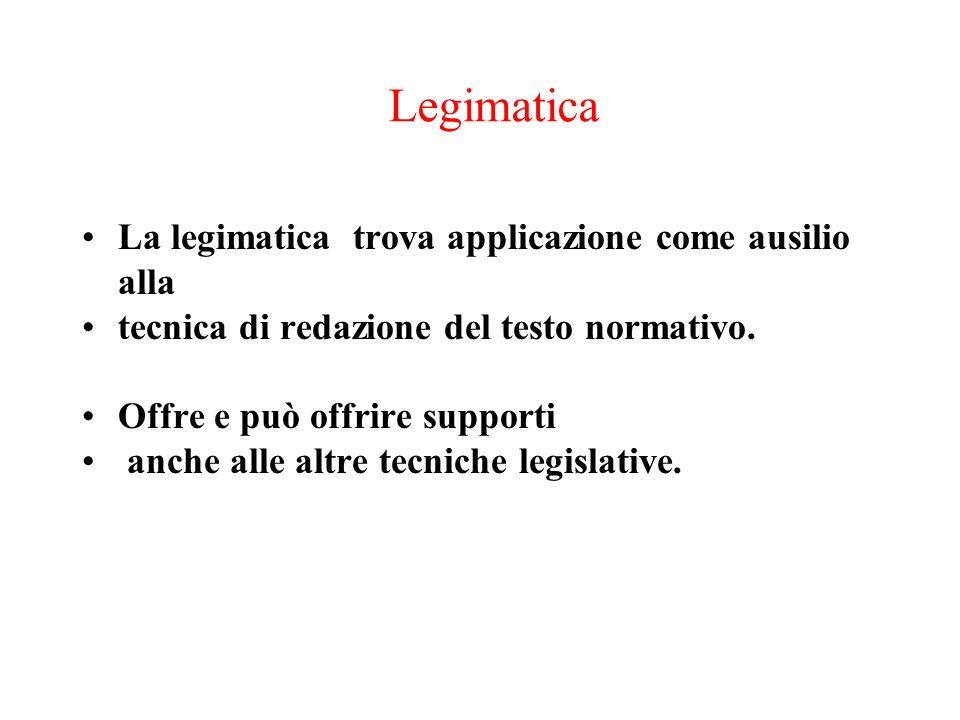 Legimatica La legimatica trova applicazione come ausilio alla tecnica di redazione del testo normativo. Offre e può offrire supporti anche alle altre