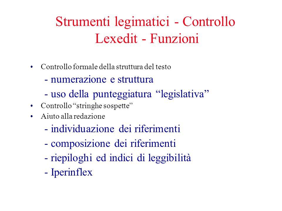 Strumenti legimatici - Controllo Lexedit - Funzioni Controllo formale della struttura del testo - numerazione e struttura - uso della punteggiatura le