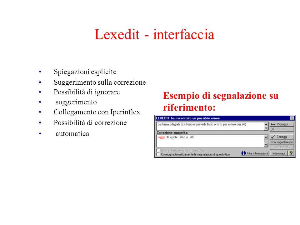 Lexedit - interfaccia Spiegazioni esplicite Suggerimento sulla correzione Possibilità di ignorare suggerimento Collegamento con Iperinflex Possibilità
