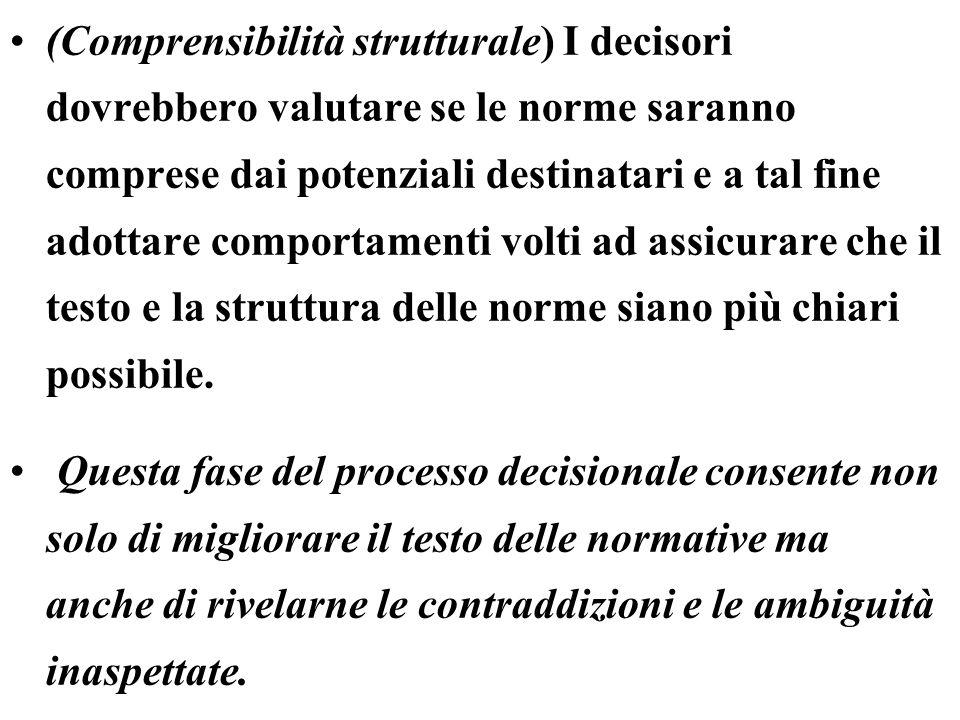 (Comprensibilità strutturale) I decisori dovrebbero valutare se le norme saranno comprese dai potenziali destinatari e a tal fine adottare comportamenti volti ad assicurare che il testo e la struttura delle norme siano più chiari possibile.