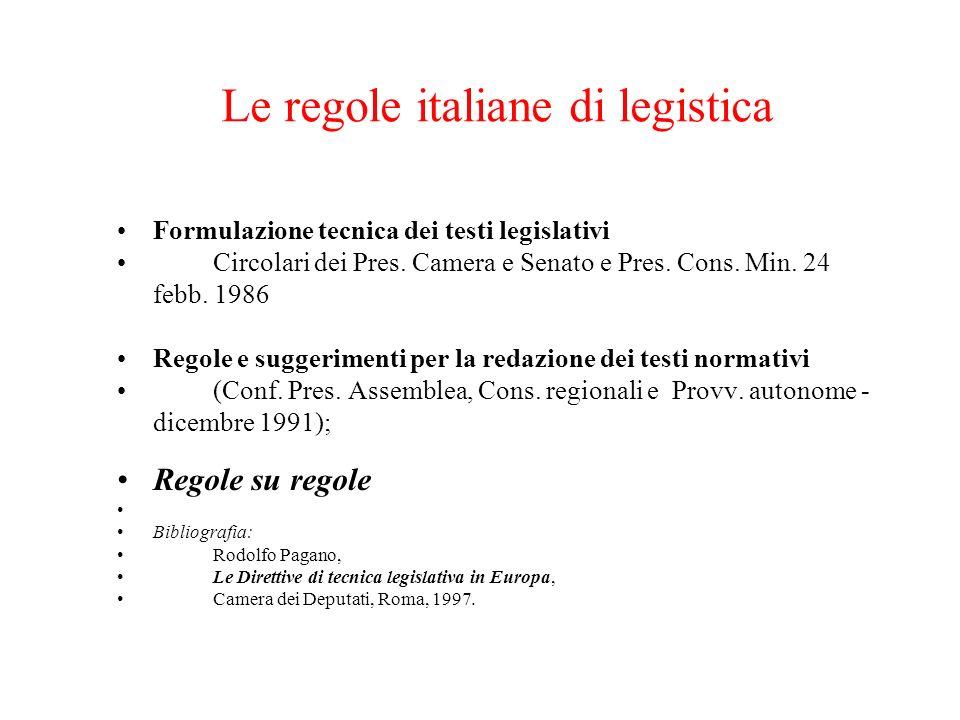 Le regole italiane di legistica Formulazione tecnica dei testi legislativi Circolari dei Pres.