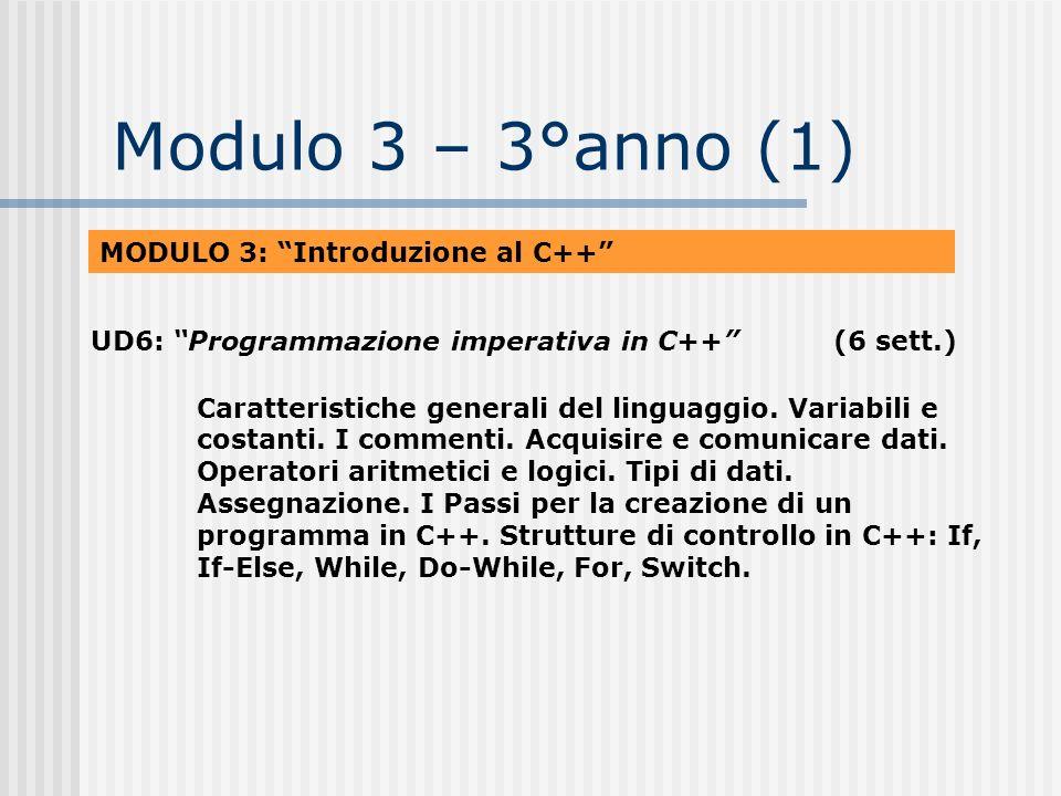 Modulo 3 – 3°anno (1) MODULO 3: Introduzione al C++ UD6: Programmazione imperativa in C++(6 sett.) Caratteristiche generali del linguaggio. Variabili