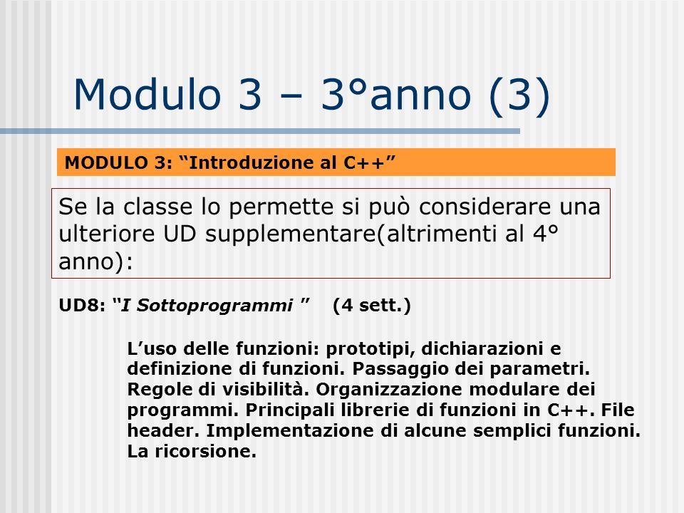 Modulo 3 – 3°anno (3) MODULO 3: Introduzione al C++ UD8: I Sottoprogrammi (4 sett.) Luso delle funzioni: prototipi, dichiarazioni e definizione di fun