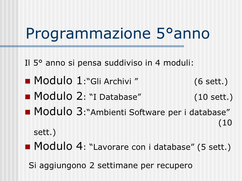 Programmazione 5°anno Modulo 1 :Gli Archivi (6 sett.) Modulo 2 : I Database (10 sett.) Modulo 3 :Ambienti Software per i database (10 sett.) Modulo 4