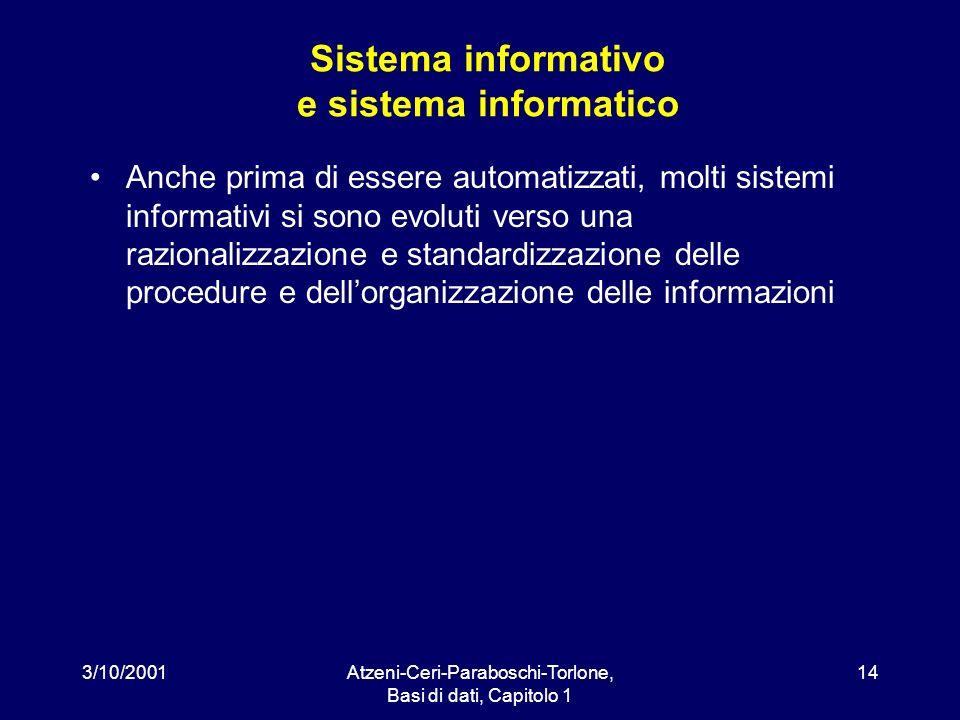 3/10/2001Atzeni-Ceri-Paraboschi-Torlone, Basi di dati, Capitolo 1 14 Sistema informativo e sistema informatico Anche prima di essere automatizzati, mo
