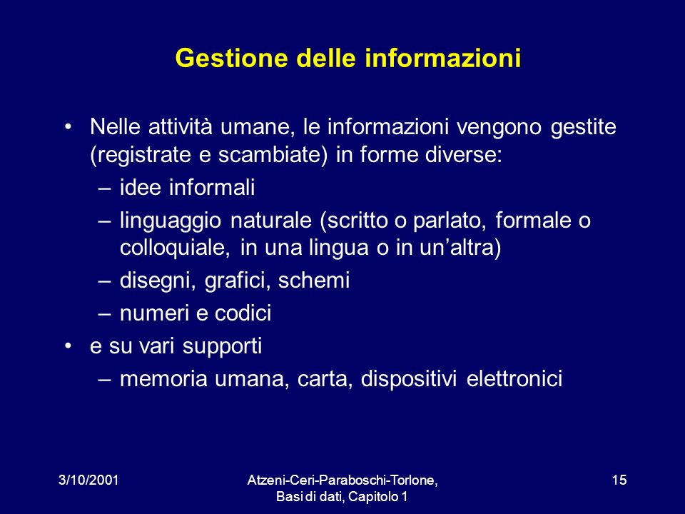 3/10/2001Atzeni-Ceri-Paraboschi-Torlone, Basi di dati, Capitolo 1 15 Gestione delle informazioni Nelle attività umane, le informazioni vengono gestite