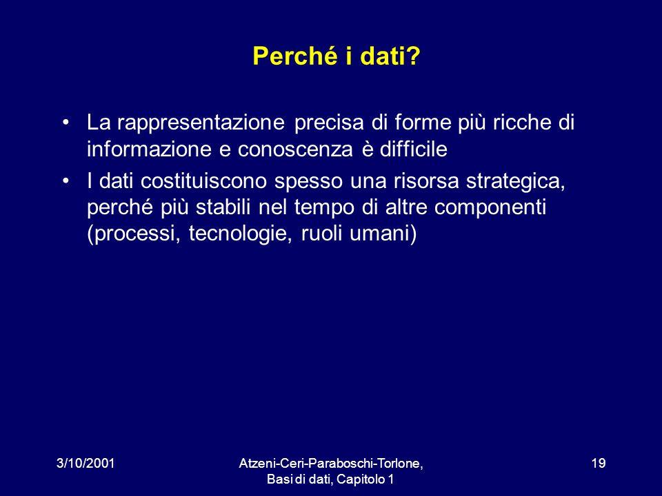 3/10/2001Atzeni-Ceri-Paraboschi-Torlone, Basi di dati, Capitolo 1 19 Perché i dati? La rappresentazione precisa di forme più ricche di informazione e