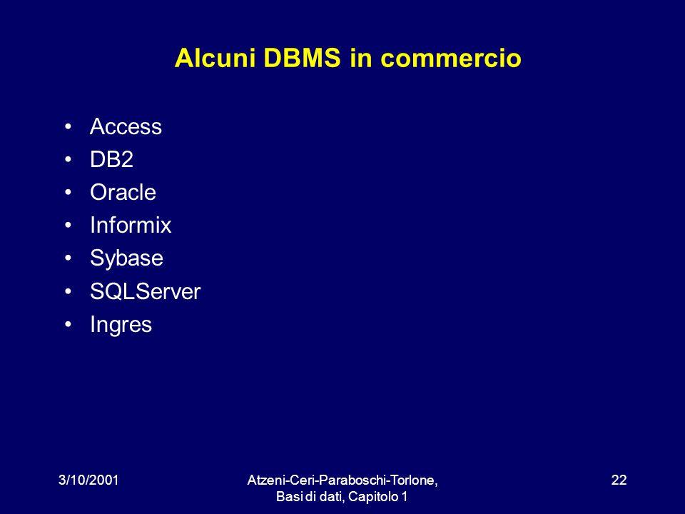 3/10/2001Atzeni-Ceri-Paraboschi-Torlone, Basi di dati, Capitolo 1 22 Alcuni DBMS in commercio Access DB2 Oracle Informix Sybase SQLServer Ingres