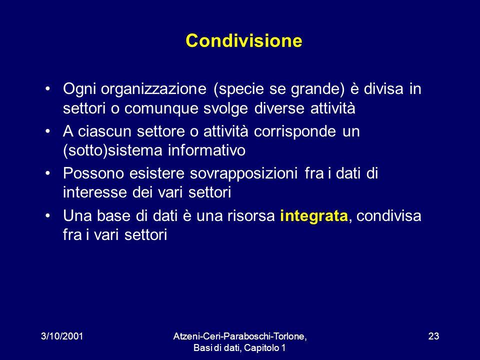 3/10/2001Atzeni-Ceri-Paraboschi-Torlone, Basi di dati, Capitolo 1 23 Condivisione Ogni organizzazione (specie se grande) è divisa in settori o comunqu