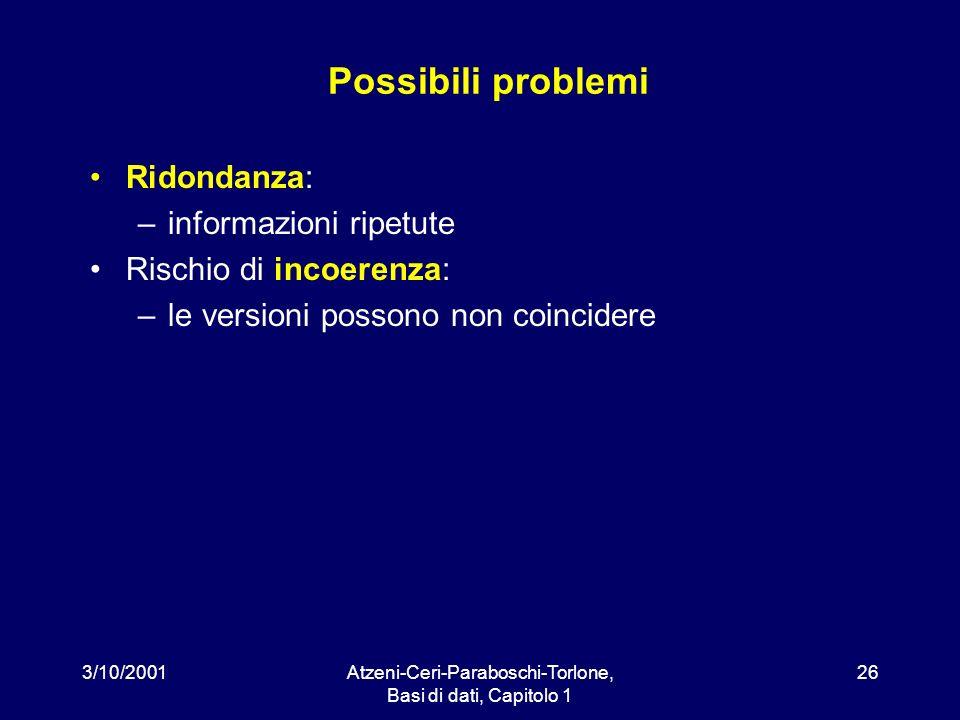 3/10/2001Atzeni-Ceri-Paraboschi-Torlone, Basi di dati, Capitolo 1 26 Possibili problemi Ridondanza: –informazioni ripetute Rischio di incoerenza: –le