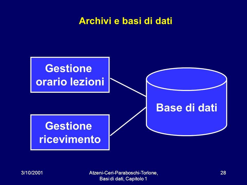 3/10/2001Atzeni-Ceri-Paraboschi-Torlone, Basi di dati, Capitolo 1 28 Archivi e basi di dati Gestione ricevimento Gestione orario lezioni Base di dati
