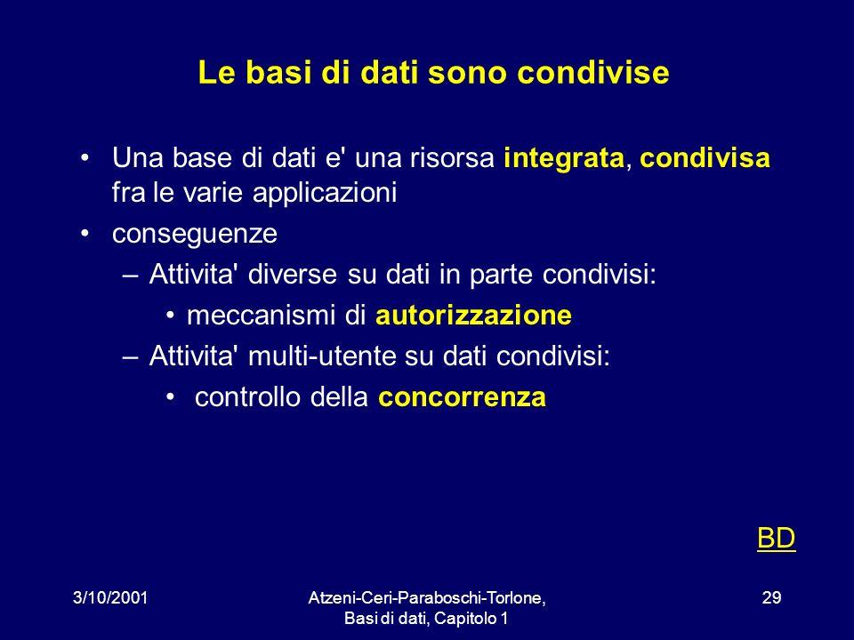 3/10/2001Atzeni-Ceri-Paraboschi-Torlone, Basi di dati, Capitolo 1 29 Le basi di dati sono condivise Una base di dati e' una risorsa integrata, condivi