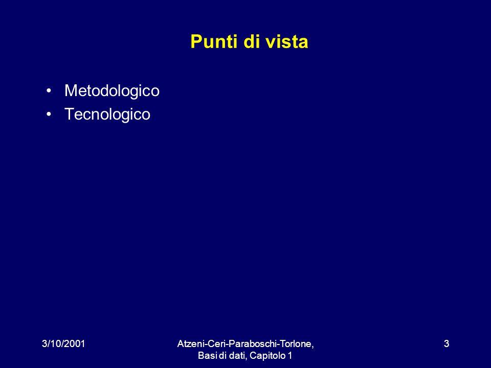 3/10/2001Atzeni-Ceri-Paraboschi-Torlone, Basi di dati, Capitolo 1 3 Punti di vista Metodologico Tecnologico