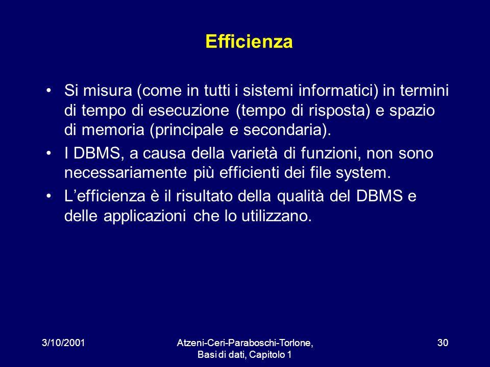 3/10/2001Atzeni-Ceri-Paraboschi-Torlone, Basi di dati, Capitolo 1 30 Efficienza Si misura (come in tutti i sistemi informatici) in termini di tempo di