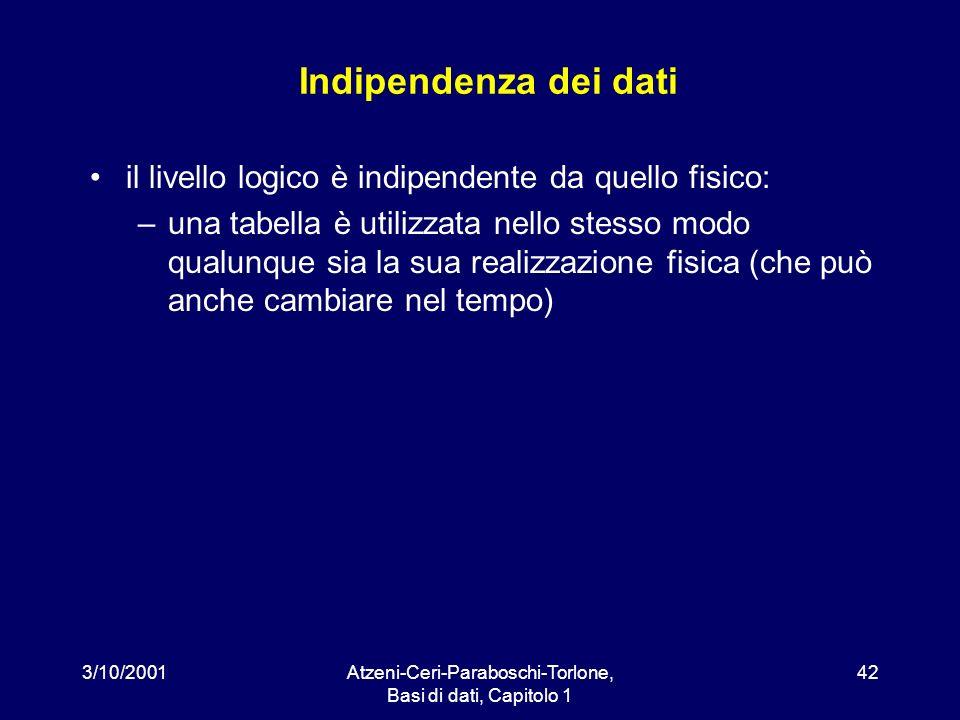 3/10/2001Atzeni-Ceri-Paraboschi-Torlone, Basi di dati, Capitolo 1 42 Indipendenza dei dati il livello logico è indipendente da quello fisico: –una tab