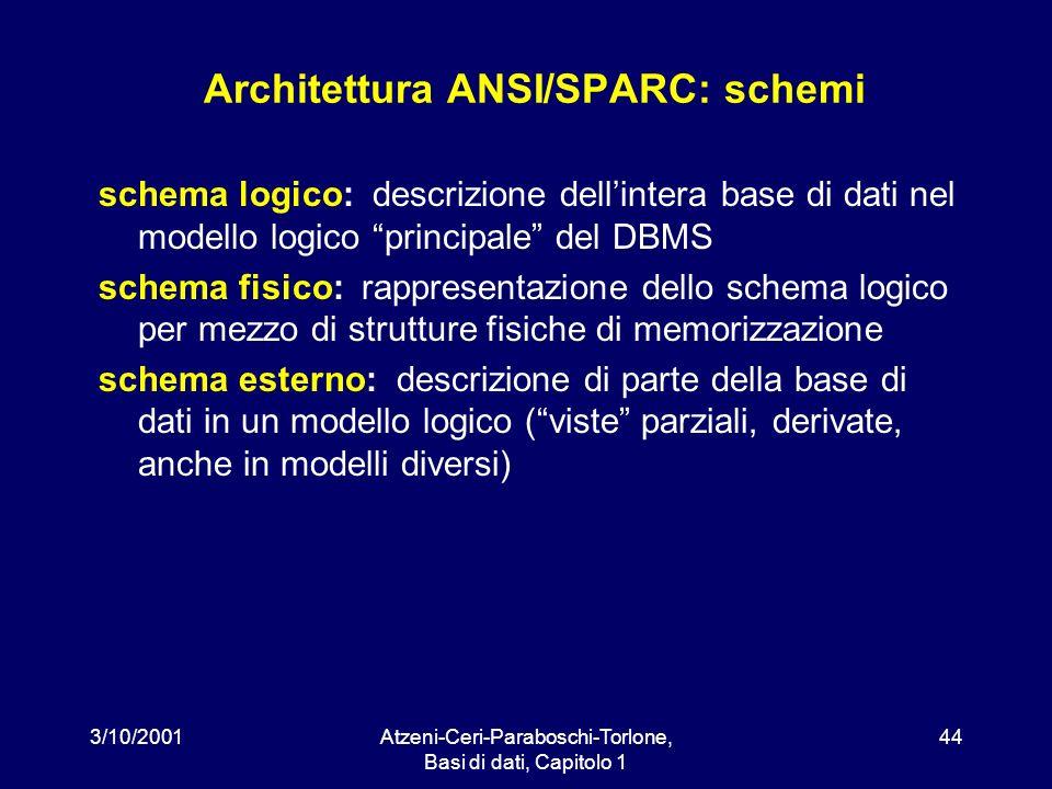 3/10/2001Atzeni-Ceri-Paraboschi-Torlone, Basi di dati, Capitolo 1 44 Architettura ANSI/SPARC: schemi schema logico: descrizione dellintera base di dat