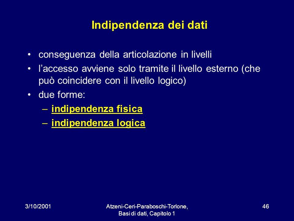 3/10/2001Atzeni-Ceri-Paraboschi-Torlone, Basi di dati, Capitolo 1 46 Indipendenza dei dati conseguenza della articolazione in livelli laccesso avviene