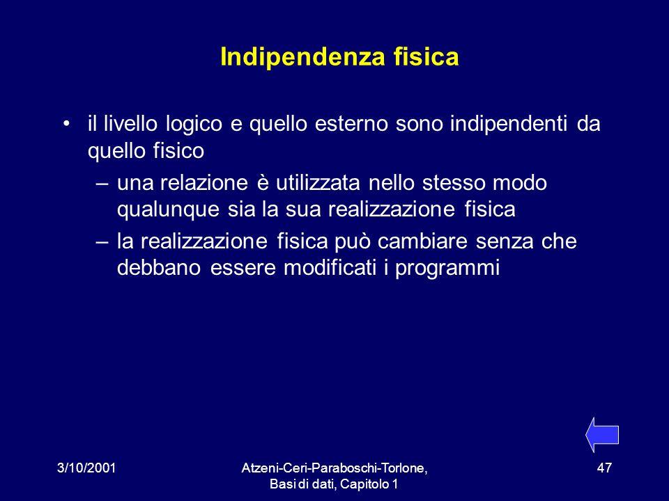 3/10/2001Atzeni-Ceri-Paraboschi-Torlone, Basi di dati, Capitolo 1 47 Indipendenza fisica il livello logico e quello esterno sono indipendenti da quell