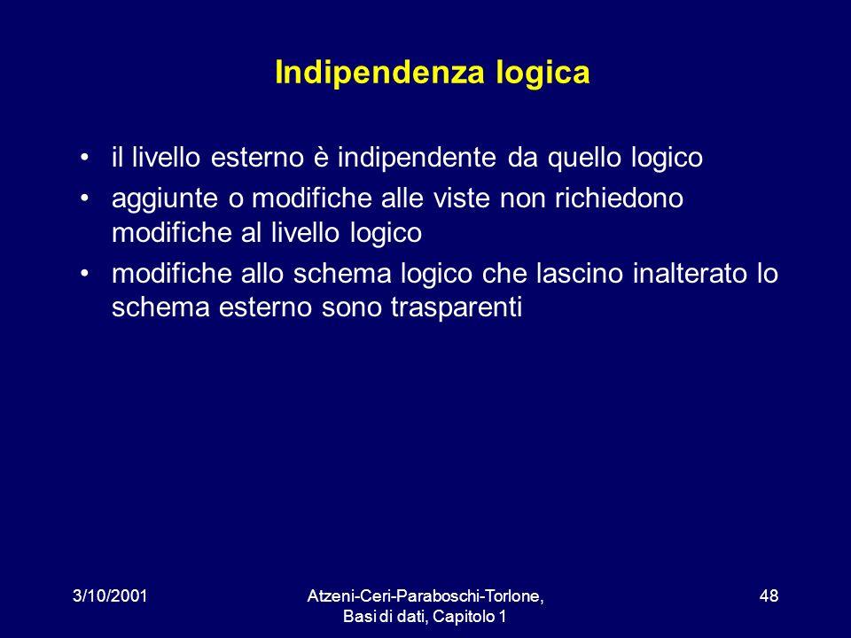 3/10/2001Atzeni-Ceri-Paraboschi-Torlone, Basi di dati, Capitolo 1 48 Indipendenza logica il livello esterno è indipendente da quello logico aggiunte o