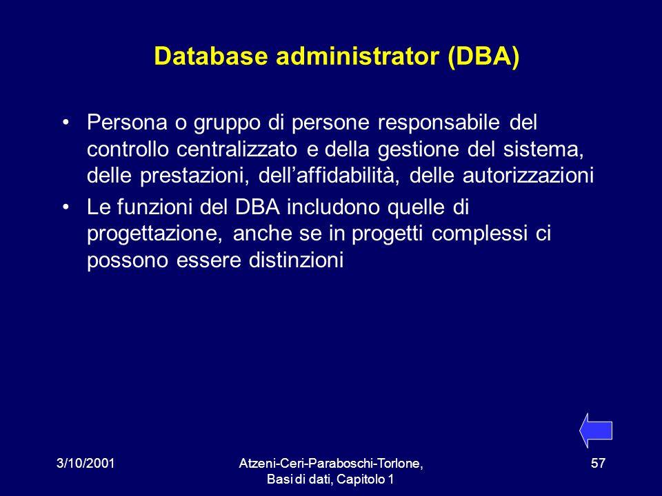 3/10/2001Atzeni-Ceri-Paraboschi-Torlone, Basi di dati, Capitolo 1 57 Database administrator (DBA) Persona o gruppo di persone responsabile del control