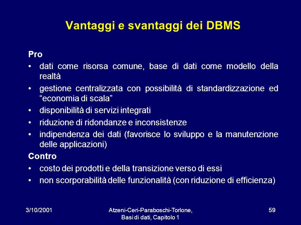 3/10/2001Atzeni-Ceri-Paraboschi-Torlone, Basi di dati, Capitolo 1 59 Vantaggi e svantaggi dei DBMS Pro dati come risorsa comune, base di dati come mod