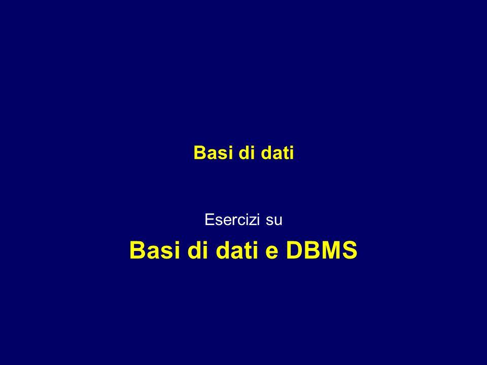 Basi di dati Esercizi su Basi di dati e DBMS