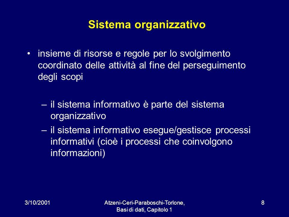 3/10/2001Atzeni-Ceri-Paraboschi-Torlone, Basi di dati, Capitolo 1 8 Sistema organizzativo insieme di risorse e regole per lo svolgimento coordinato de