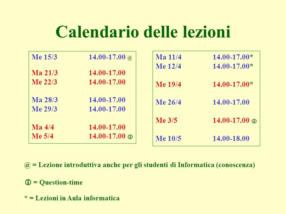 Ma 11/414.00-17.00* Me 12/4 14.00-17.00* Me 19/414.00-17.00* Me 26/414.00-17.00 Me 3/514.00-17.00 Me 10/514.00-18.00 Calendario delle lezioni = Questi