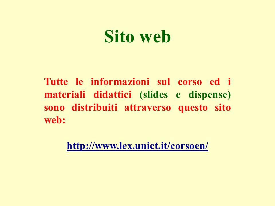 Sito web Tutte le informazioni sul corso ed i materiali didattici (slides e dispense) sono distribuiti attraverso questo sito web: http://www.lex.unic