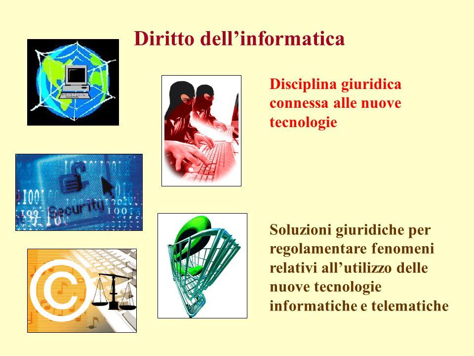 Disciplina giuridica connessa alle nuove tecnologie Soluzioni giuridiche per regolamentare fenomeni relativi allutilizzo delle nuove tecnologie informatiche e telematiche Diritto dellinformatica