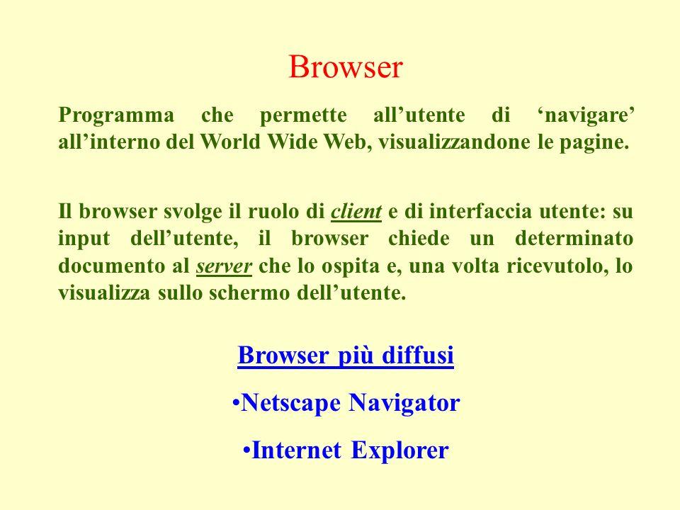 Browser Programma che permette allutente di navigare allinterno del World Wide Web, visualizzandone le pagine.