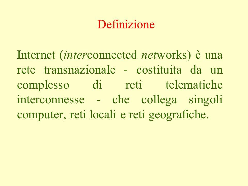 Internet (interconnected networks) è una rete transnazionale - costituita da un complesso di reti telematiche interconnesse - che collega singoli computer, reti locali e reti geografiche.