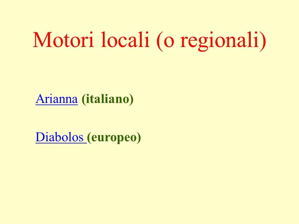 AriannaArianna (italiano) Diabolos Diabolos (europeo) Motori locali (o regionali)