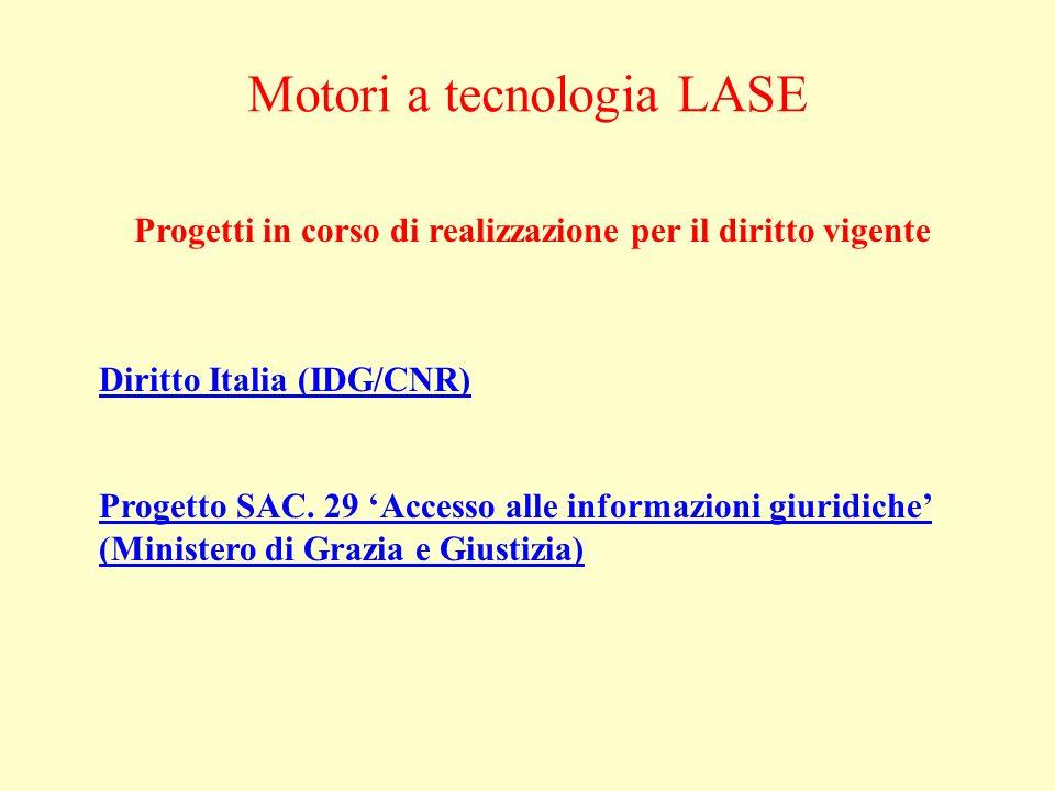 Progetti in corso di realizzazione per il diritto vigente Motori a tecnologia LASE Diritto Italia (IDG/CNR) Progetto SAC.