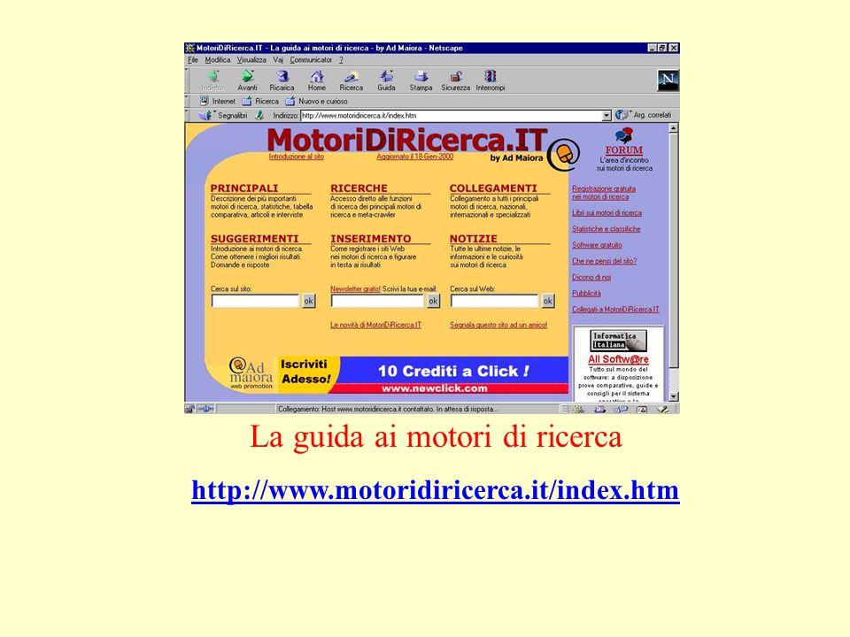 La guida ai motori di ricerca http://www.motoridiricerca.it/index.htm