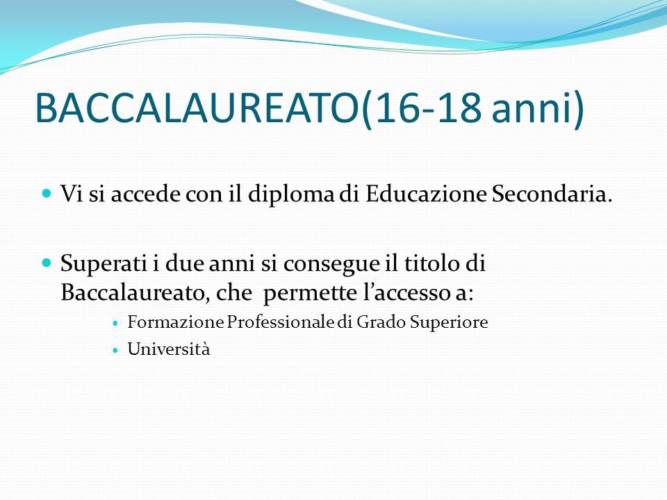 BACCALAUREATO(16-18 anni) Vi si accede con il diploma di Educazione Secondaria.