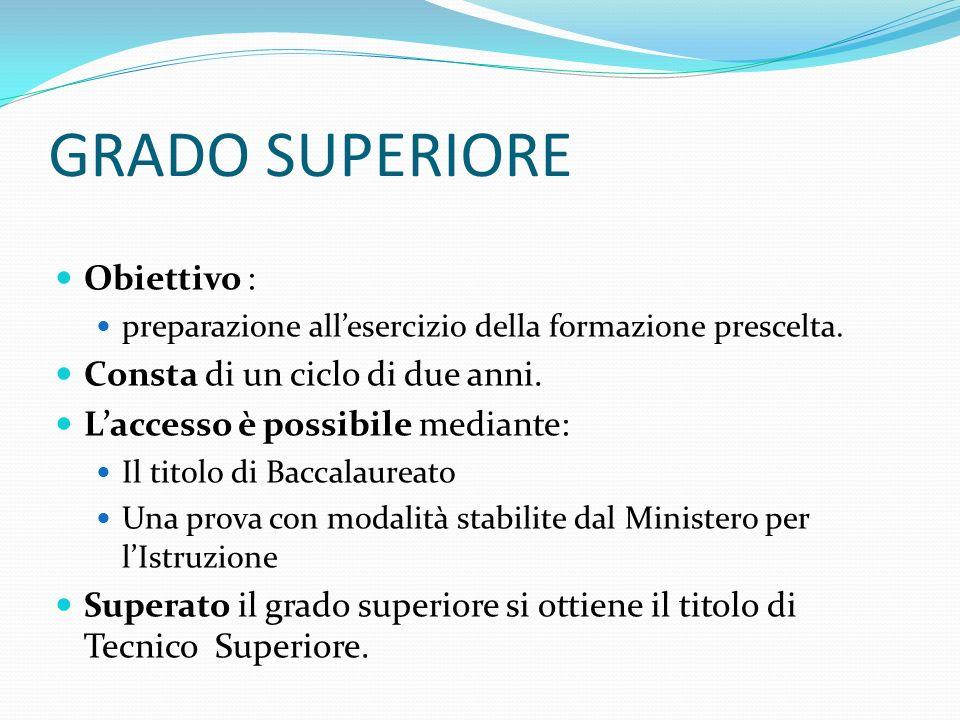 GRADO SUPERIORE Obiettivo : preparazione allesercizio della formazione prescelta.