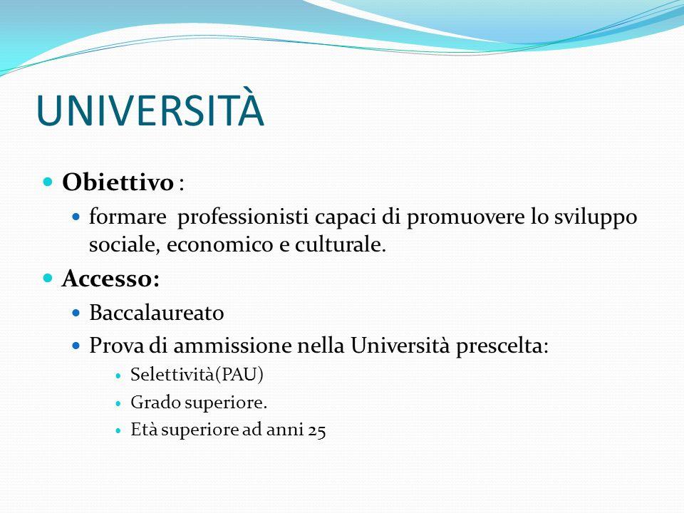 UNIVERSITÀ Obiettivo : formare professionisti capaci di promuovere lo sviluppo sociale, economico e culturale.